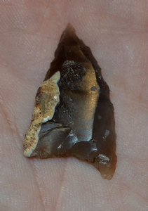 "An excellent Late Neolithic Assymetric ""Hollow Base"" flint arrowhead from Halamaning, Cornwall. SOLD"